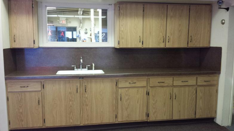 Merveilleux This Display Is Comprised Of Custom Built Cabinets That Are Built With T   Molding Edges On A Flat Formica Door Style. The Total Length Is 133 Inches  Of Base ...